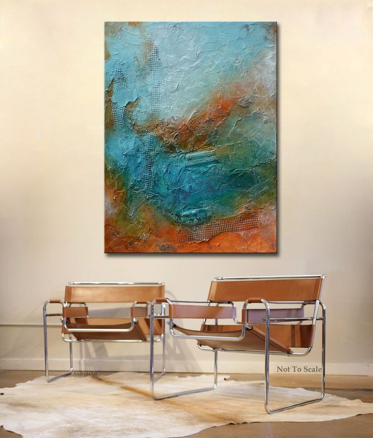 Original Abstract Painting Contemporary Blue Rust Painting
