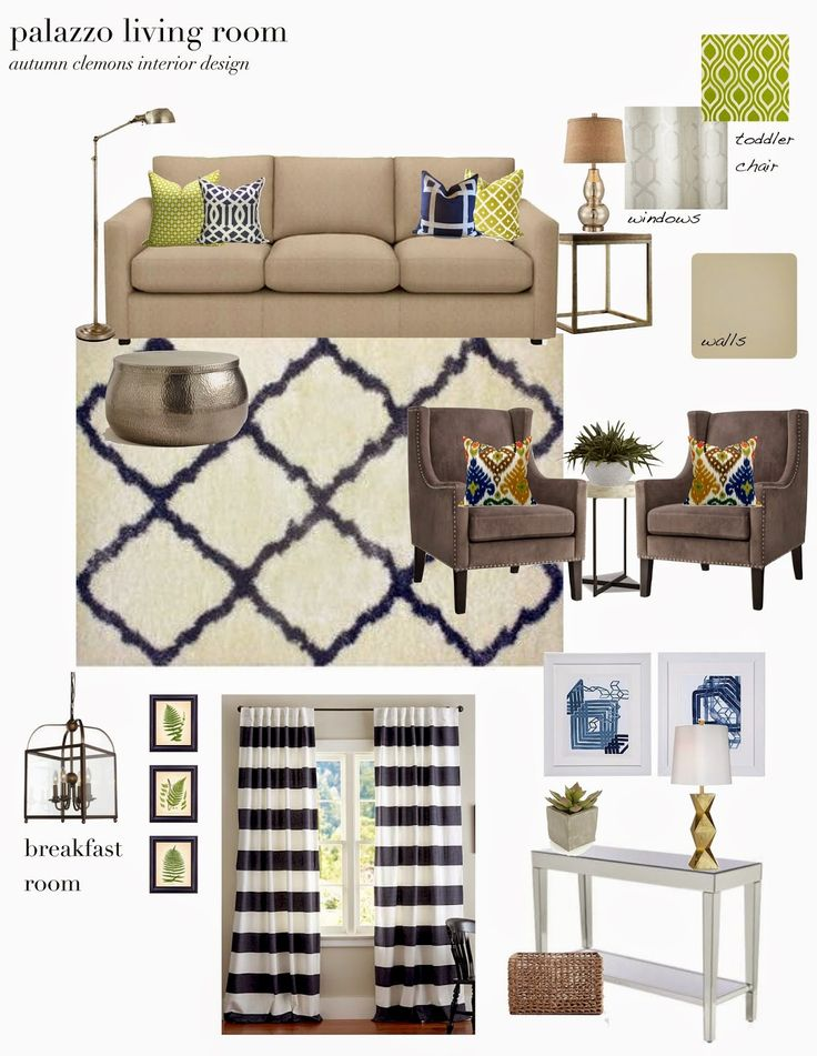 Design Plan For Living Room, Neutral With Navy And Chartreuse Accents. Part 46