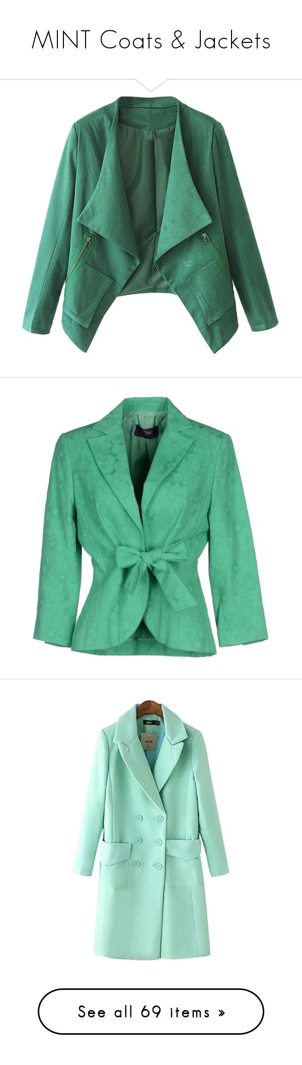 """MINT Coats & Jackets"" by franceseattle ❤ liked on Polyvore featuring outerwear, jackets, blazers, coats, green, slim fit jackets, green blazer jacket, slim blazer jacket, green blazer and blazer jacket"
