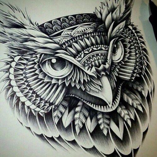 ... Owl Tattoos on Pinterest | Owl tattoos Tribal drawings and Owl tat