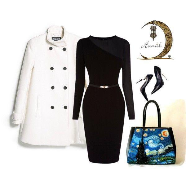 Per questo elegante outfit Malusa ha scelto un vestito nero con cintura in vita, decolletè altissime nere e cappotto bianco. E per finire una bellissima borsa con su dipinta a mano LA NOTTE STELLATA di Van Gogh