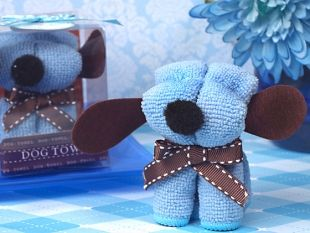 Our adorable Puppy dog towels are so cute and clever your guests will love this favor treat. Each Puppy dog shaped towel is made of 100% cotton blue hand towel that is cleverly shaped in a figure of an adorable little puppy dog with a brown ribbon bow as a collar.