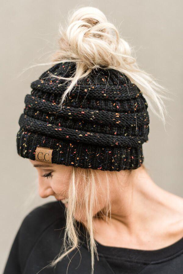Messy Bun Knitted Cc Beanie Black Cc Hats Boho Hat