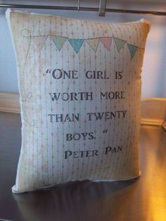 "Peter Pan nursery pillow, baby shower gift, cotton kids room decor, toddler bedroom decor, Wendy throw pillow, girl quote, muslin cushion Size: small 8"" wide x 10"" tall Please Note: The small size ( a"