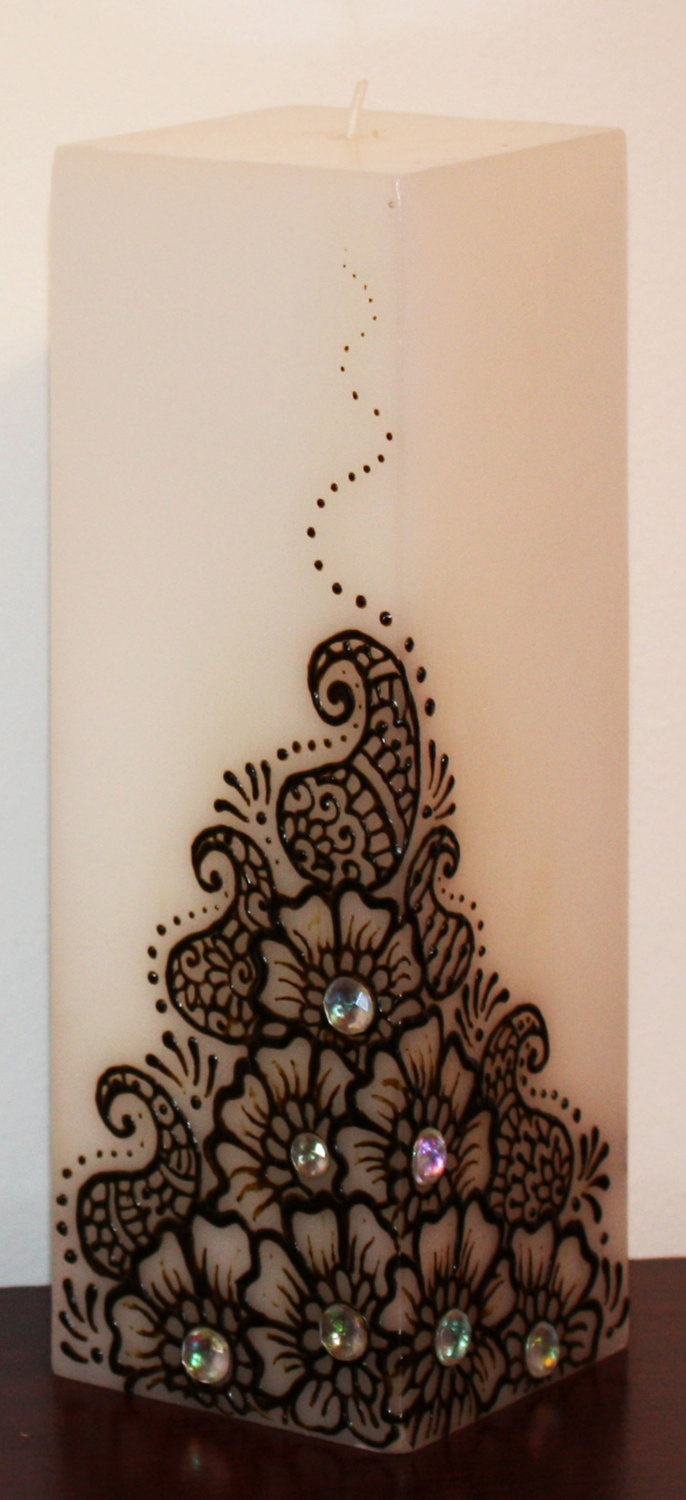 3x9 inch white paisley and flowers square Henna Candle. $24.00, via Etsy.