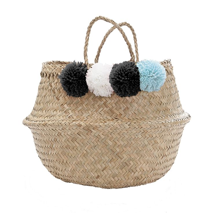 Pom Pom Belly Basket-Blue