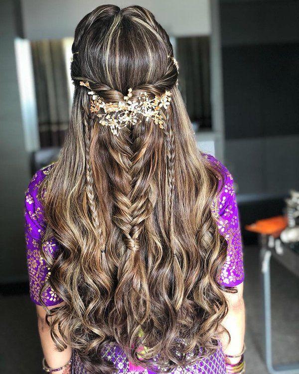 27 Effortlessly Stylish Half Tie Hairstyles We Spotted On Real Brides Shaadisaga Wedding Hair Inspiration Hair Styles Bridal Hairdo