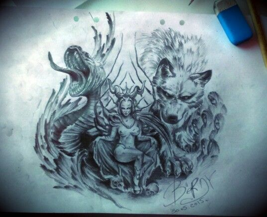 Ёрмунганд Хельга Локи Скандинавские божества.  Jörmungand Helga Loki Scandinavian deity. Alex Bërd.