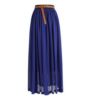 spring women's fashion skirt pleated chiffon maxi skirt full extension at the bottom of the fairy tale waisted skirt