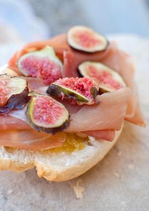 Fig and Prosciutto sandwich with mozzarella and honey mustard
