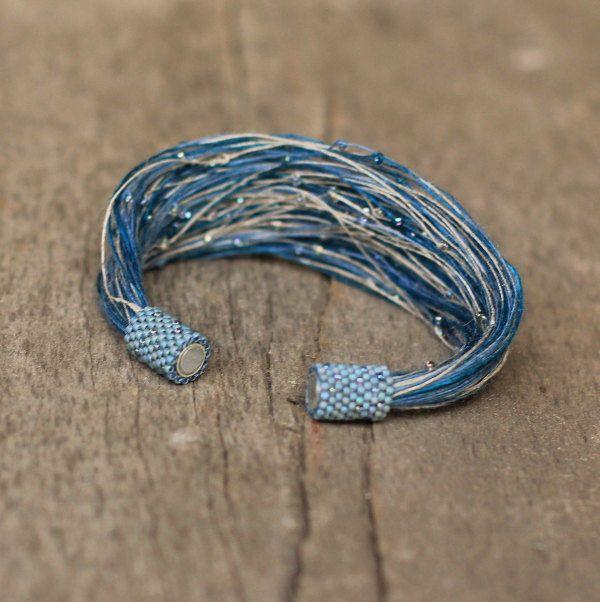 Multistrand Blue Beige Bracelet, Magnetic Cuff for Women, Fiber Bracelet in Blue, Seed Bead Linen Thread Bracelet, Best Friend Gift, Spring by Naryajewelry on Etsy