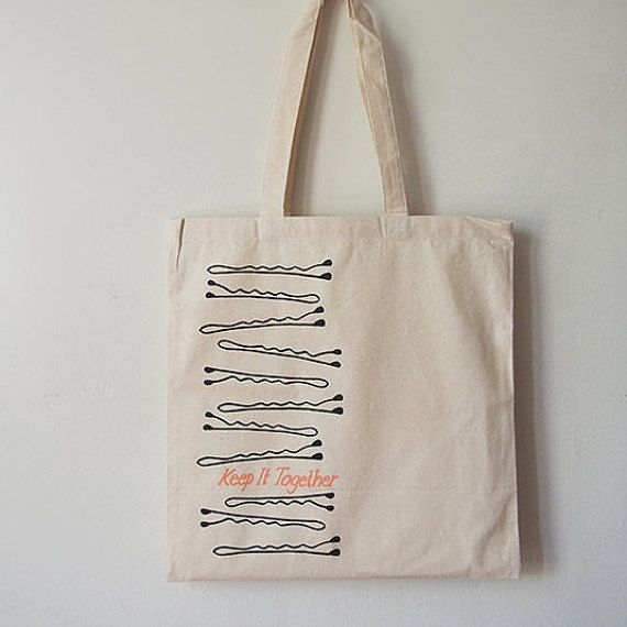 Keep it Together Canvas Tote  The perfect tote bag for anyone one who uses bobby pins or anyone that finds them everywhere.  Approx 14 X 14 inches