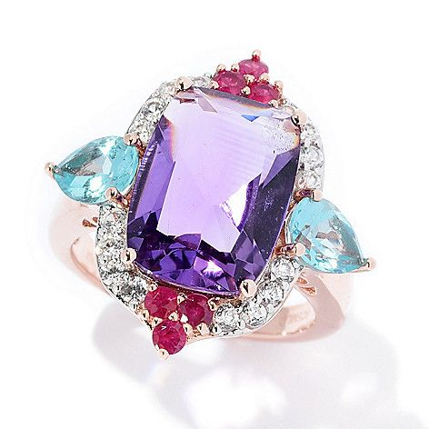 a6985b28b 168-792 - Victoria Wieck Collection 7.00ctw Amethyst & Multi Gemstone Halo  Ring