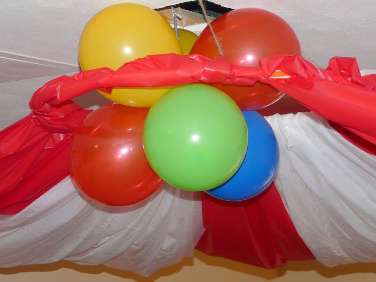 plastic tablecloth ceiling decoration | Circus Birthday Party (Part One ~ Decorations)