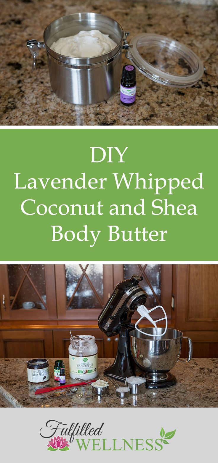 DIY Lavender Whipped Coconut and Shea Body Butter. Recipe and instructions on how to make your own natural moisturizer, moisturizing lotion. Simple, with only a few ingredients and easy to make. Deep skin care, healing, natural beauty products. #naturalliving #allnatural #naturalbeauty #diybeauty