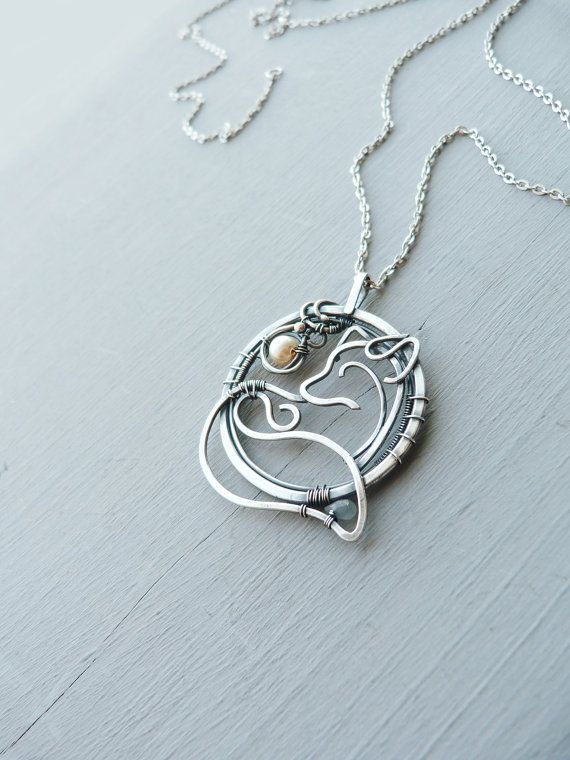 Silver necklace Fox - 999 fine silver jewelry - wire wrapped pendant - gift for women - gift for mom by Ursula Jewelry