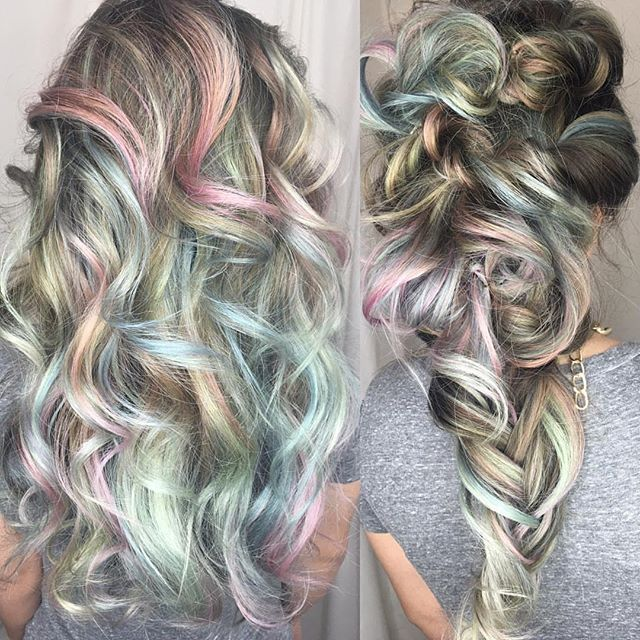 """Beautiful opalescent hair color and great messy braid by @giannadoll13 """"I can't say enough about how much I love @_lupetorres_ new pastel rainbow hair !  my weapons of choice were #pulpriothair smoke,blush,Mercury, powder and seaglass  and of course adding #b3 for added strength."""" . . . . #hairpainting #opalhair #minthair #bluehair #yellowhair #pinkhair #mermaidhair #rainbowhair #unicornhair #pastelhair"""