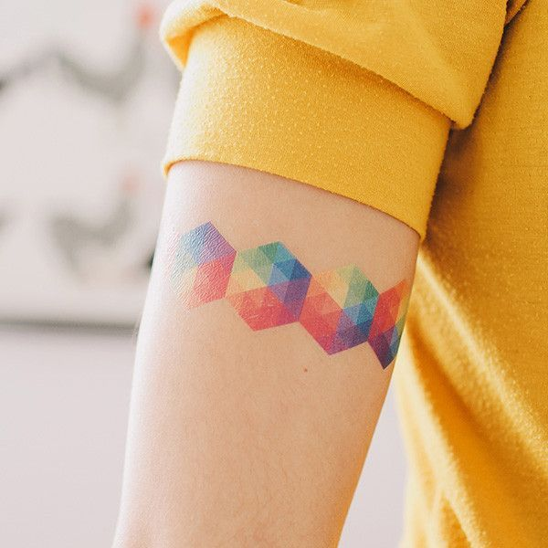 Geometric Colorful Forearm Tattoo