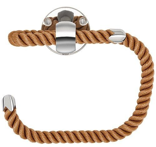 NAUTILUXE COLLECTION Nautical Rope Paper Holder with polished chrome fittings. Four Rope Colors: Natural, Navy, Black & Brown Price:175 Gold fittings also available.