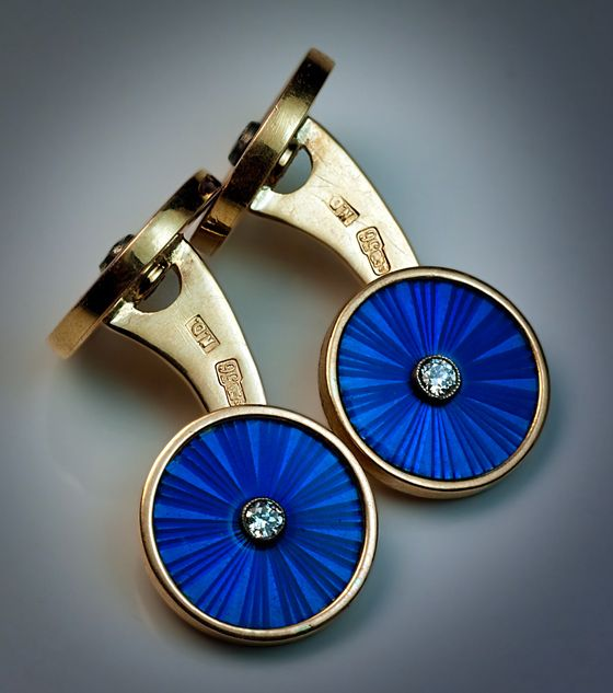 The cufflinks are set with four brilliant diamonds.  Diameter of the enameled discs - 15 mm  Vintage Russian double cufflinks are rare, especially those with guilloche enamel. The color of enamel is beautiful royal blue. - The cufflinks are marked with 56 zolotnik old Russian gold standard (14K - 583 gold) / St Petersburg assay office and maker's initials 'N.D.'