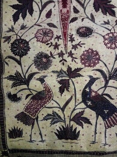 Batik banyumas kemben ,primitive design bird and flower / 1930~1940