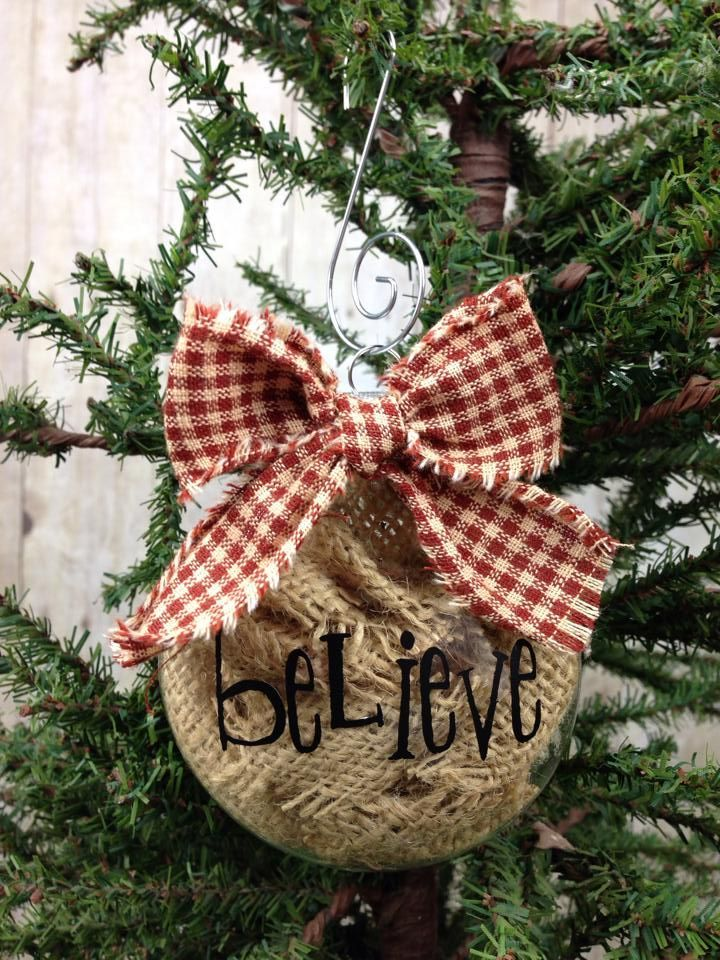 Burlap Believe Ornament via Lizzie's Homespun