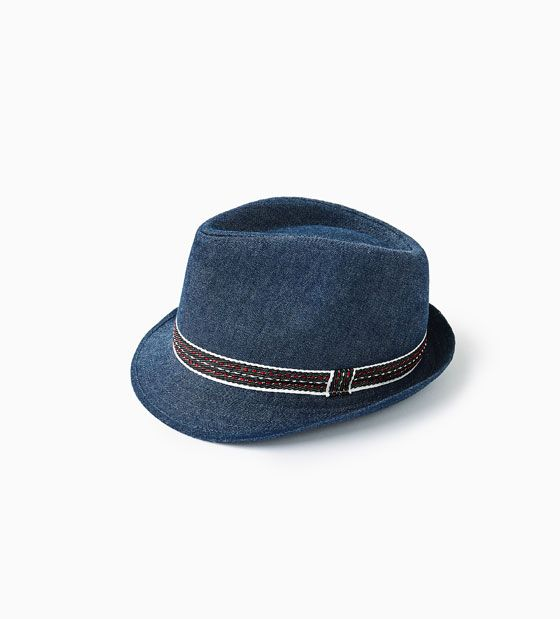 DENIM HAT WITH TOPSTITCHED BAND