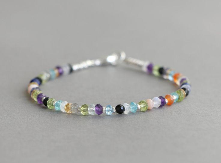 Multi Gemstone Bracelet Hill Tribe Silver Bracelet Beaded Bracelet Amethyst, Peridot, Moonstone, Citrine Bracelet Stacking Bracelet