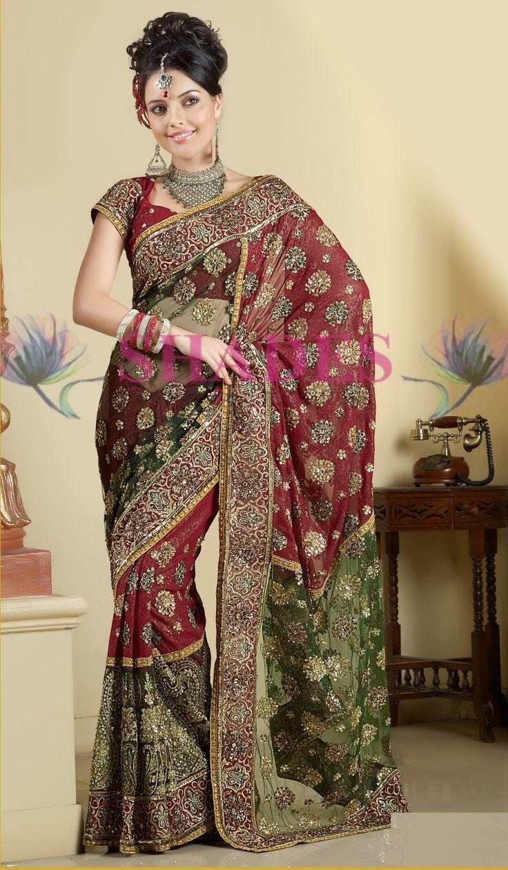 A wedding sari is the traditional bridal wedding dress of Indian women. http://www.shadesandyou.com/product-category/regular-sarees/  #BridalSaree #BridalWeddingDress #BuySaree #BuyDesignerSaree #OnlineFashionStore