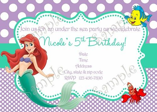 25 best images about Little Mermaid Birthday Ariel Birthday Party – Invitation Card Design Birthday Party