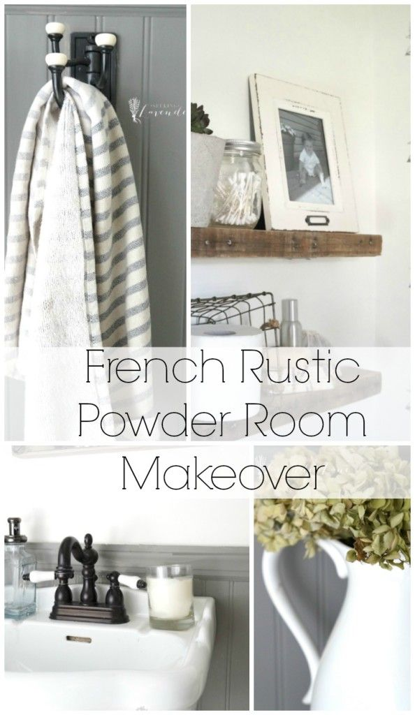 The Art Gallery French Rustic Powder Room Makeover Walls Pure White Sherwin Williams and gray is