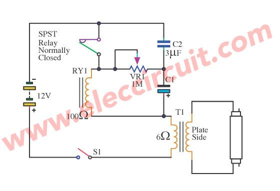Fluorescent Driver With 6v 12v Battery And Blinking Light Circuit Ideas Circuit Fluorescent Lamp Fluorescent