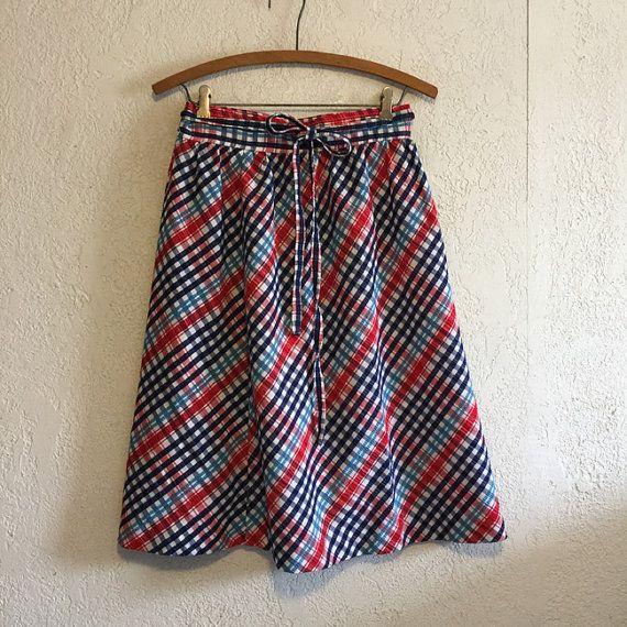 Vintage Seersucker Wrap Skirt in Red, White & Blue by kitschbitchvintage