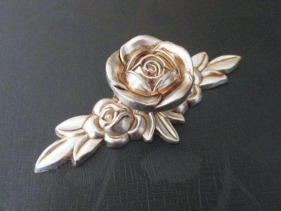 Shabby Chic Dresser Drawer Knobs Pulls Handles Antique Silver Rose / Flower Kitchen Cabinet Knobs Handles Pull Ornate Knob Hardware 108