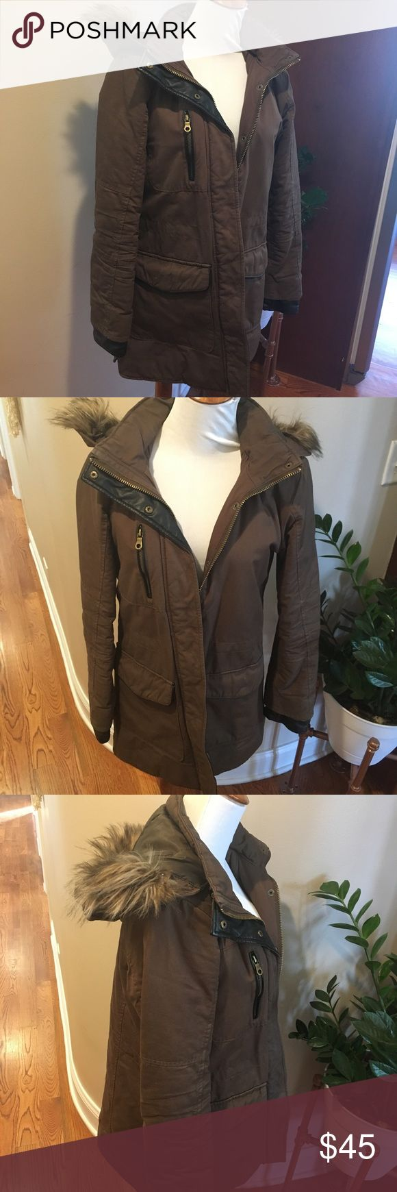Faux Fur Hooded Coat The perfect winter coat, in very good, gently used condition. Originally purchased from Nordstrom. Color is more brown/olive than green as shown in stock photo with faux black leather trim. KIIND OF Jackets & Coats