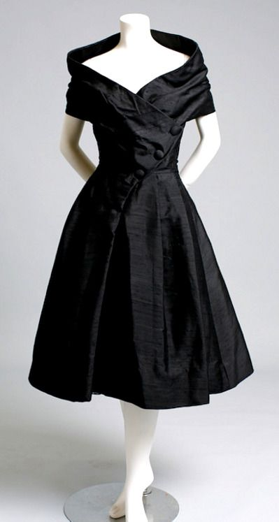 Vintage 1950s Christian Dior black cocktail dress.