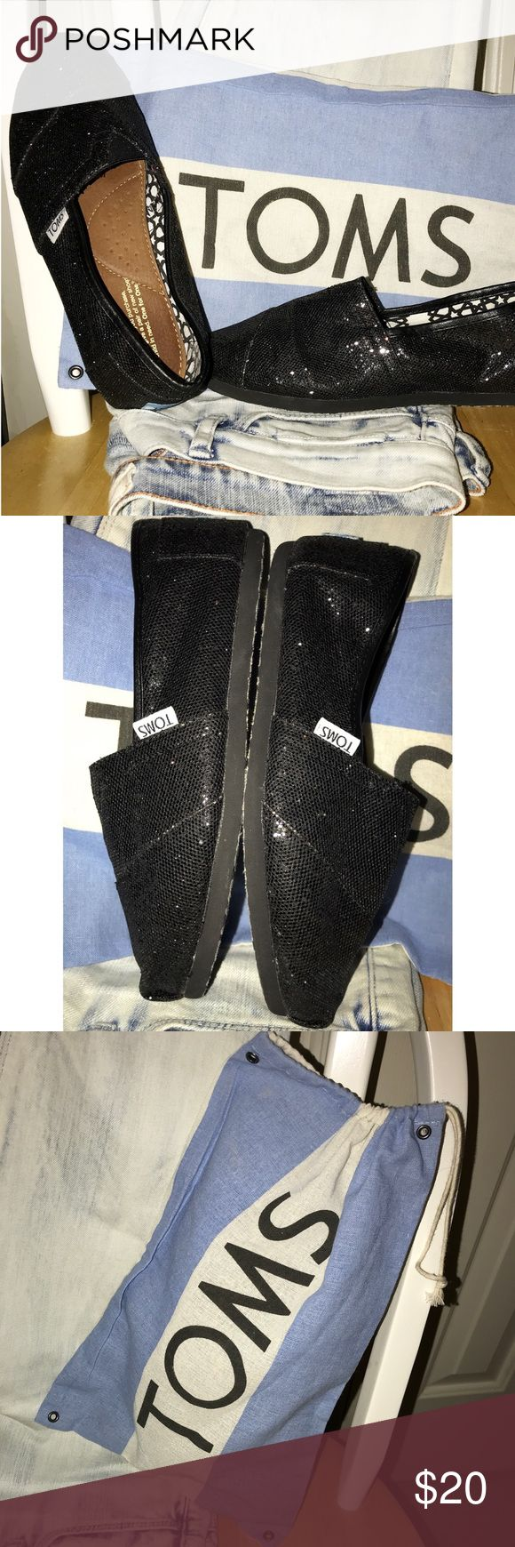 Black Glitter TOMS w/ Bag! Never worn, NWOT. No damages, true to size! Black glitter, size 7 women's. Comes with TOMS bag! Toms Shoes Flats & Loafers