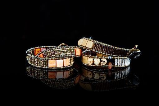 Wrap bracelet with Agate, Horn, Jasper, Murano Glass, Sunstone, Pearl and signature silver fastening (#1463).