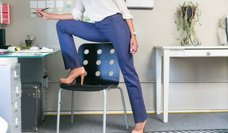soft dressing yoga pants in navy blue that looks like dress pants by betabrand