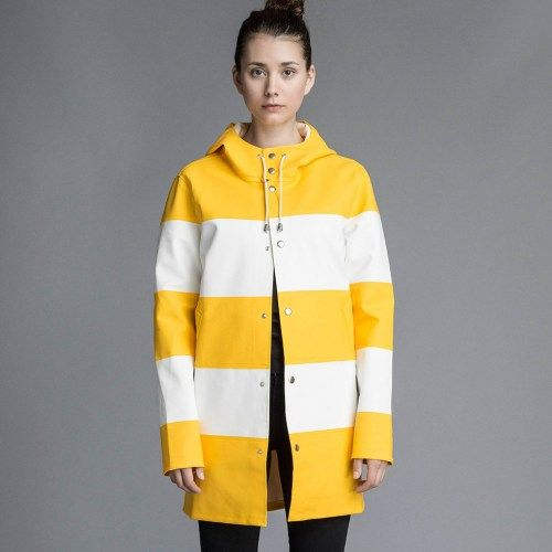 Cute yellow white striped Raincoat for women - Stutterheim Stockholm