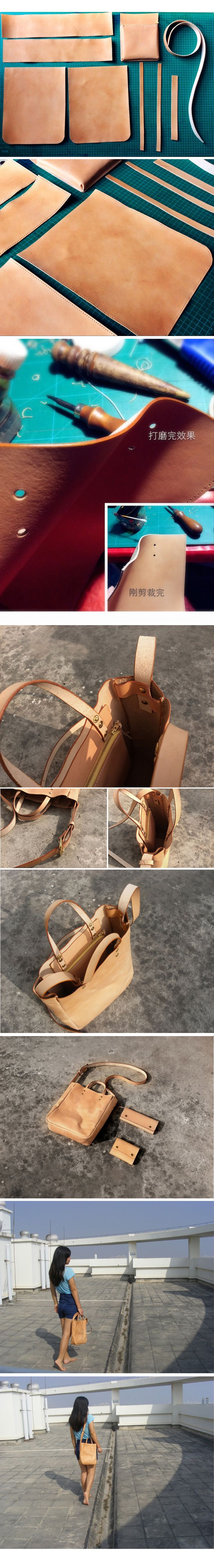 Chi vegetable tanned leather material leather handmade tote bag casual handmade bags - Taobao