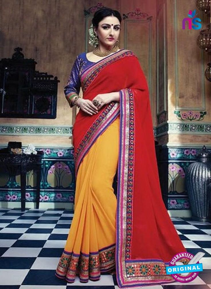 SC 12327 Red and Yellow Designer Georgette Saree