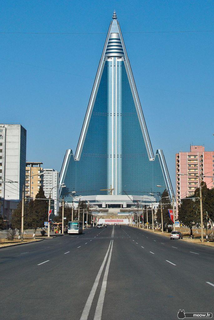 Neo Brutalist Ryugyong Hotel in Pyongyang North Korea