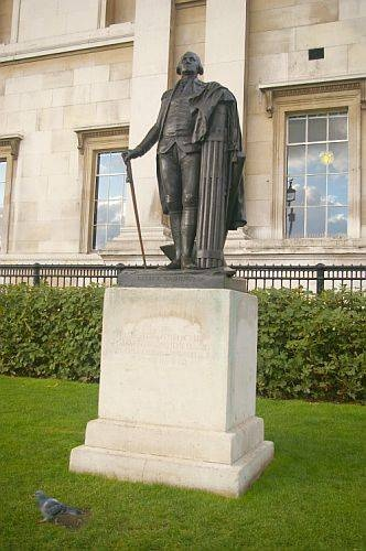 George Washington's statue in London, resting on dirt from the state of Virginia so he would stand on soil from the United States.