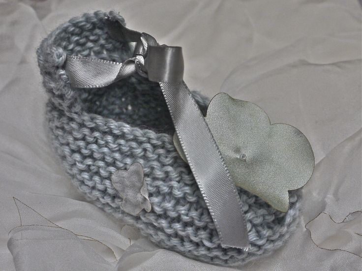 hand knitted pure alpacca wool booties with silk flower embellishment made by Deborah Ashworth