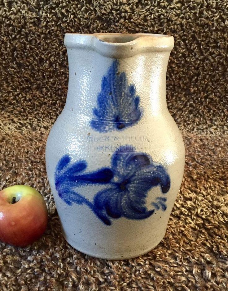 Antique Stoneware: 1G Pitcher w/ Cobalt, Cowden & Wilcox, Harrisburg PA, ca.1870 #AntiqueStonewareCowdenWilcoxHarrisburgPA