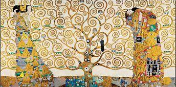 Strom života, Naplnění (Objetí), Čekání - vlys z paláce Stoclet, 1909 Obrázky   Obrazy   reprodukce