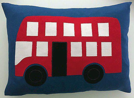 "Wheels on the Bus cushion 16"" x 12"""