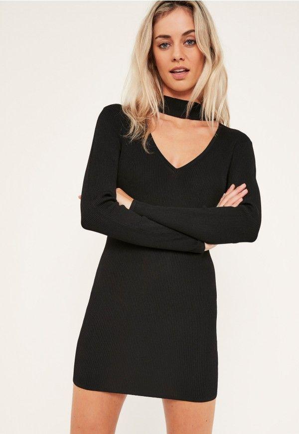 BLACK CHOKER NECK BODYCON MINI DRESS #style #fashion #trend #onlineshop #shoptagr