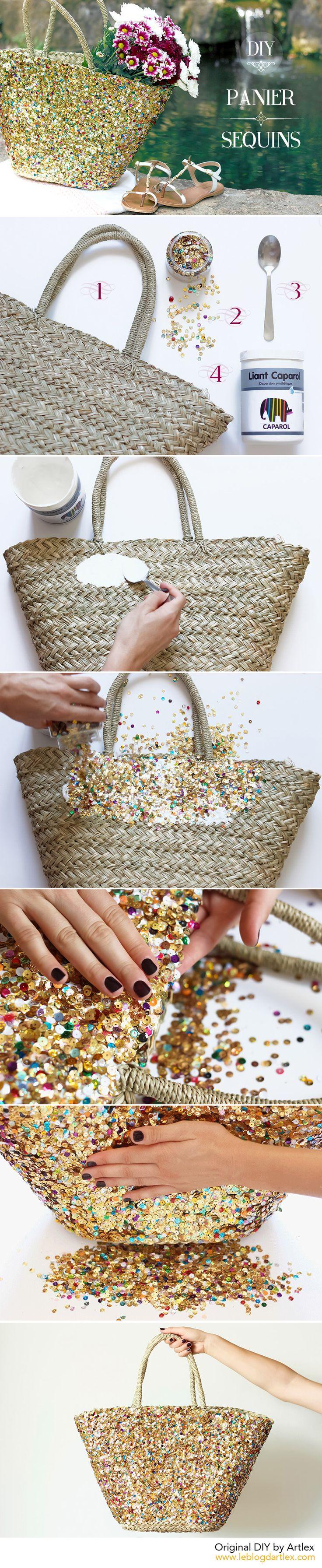 DIY panier sequins / DIY panier paillettes / DIY cabas plage - Blog mode & DIY Artlex